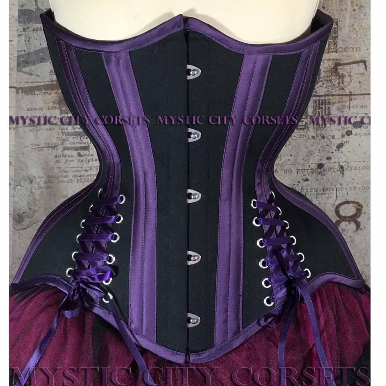 944efd1ec53 Black Cotton Purple Satin Underbust Corsets MCC64