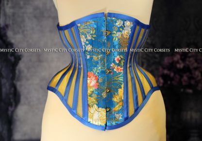 MCC38 Blue Floral Brocade with Gold Mesh-773
