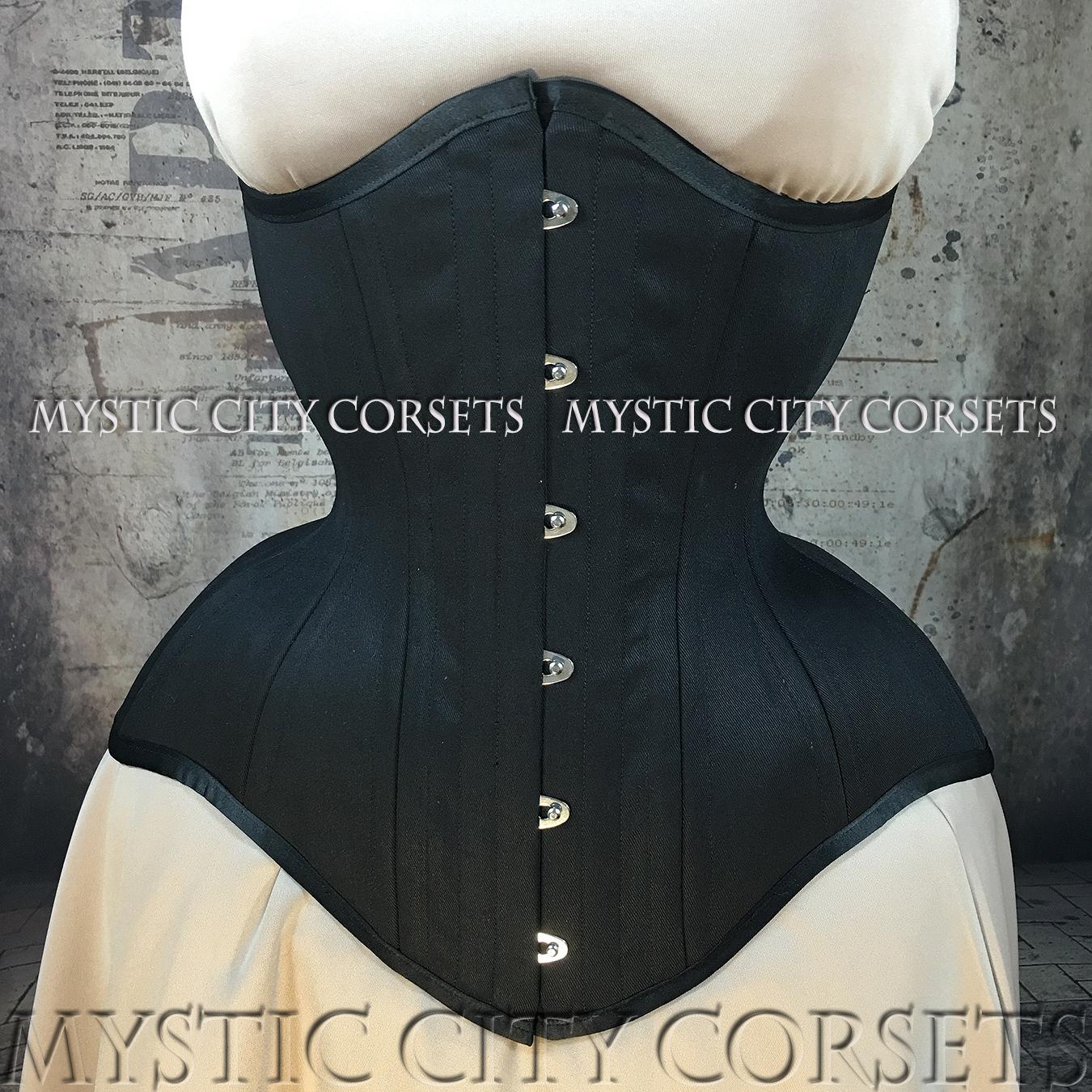 8031453c3c5 MCC112 Long Line Long Torso Black Cotton Underbust corset