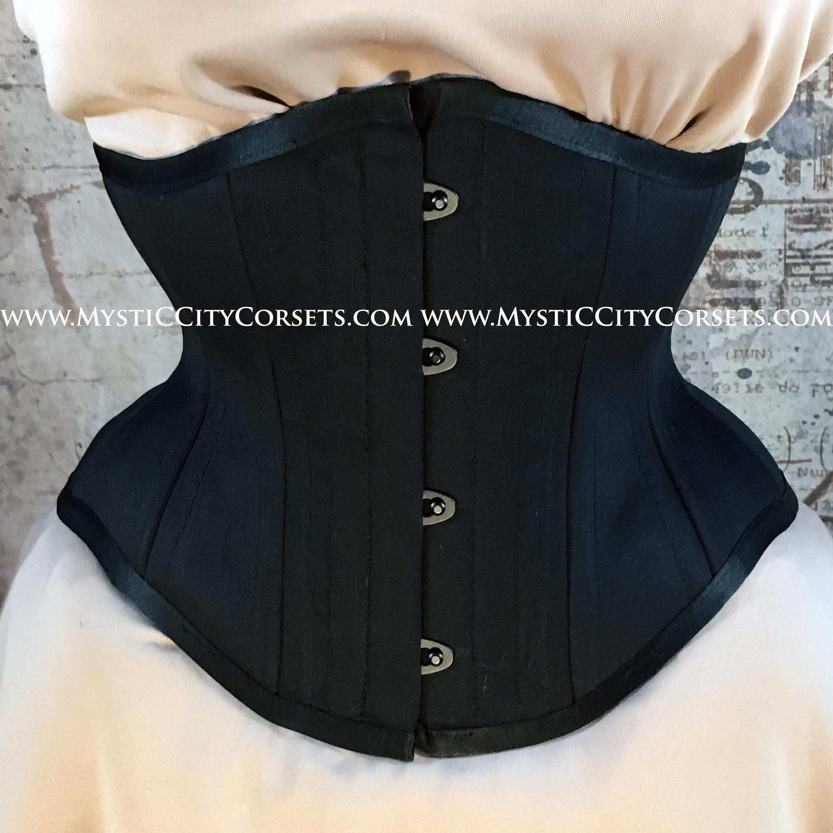 48e8e4e0fe1 MCC6 underbust Corset Black Cotton Satin Waspie