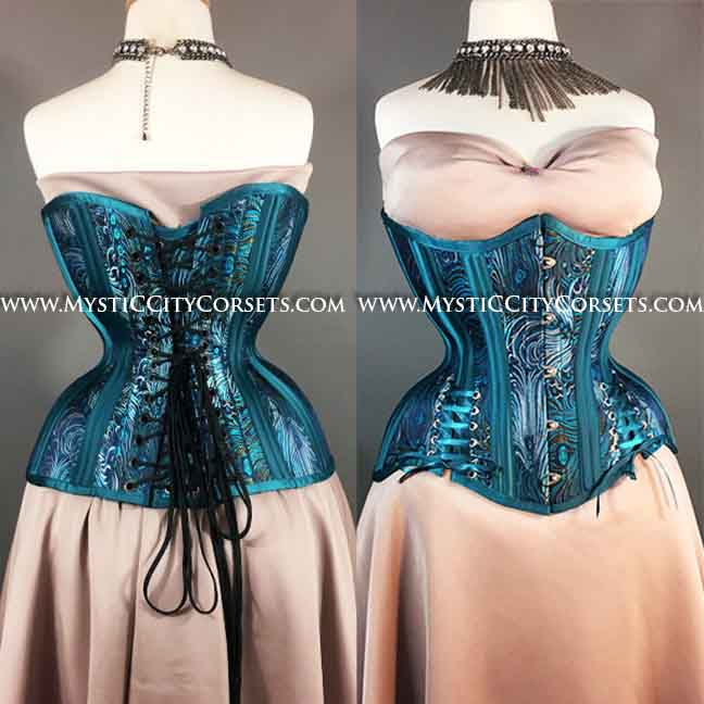 09fbd06caf5 MCC64 Corset Underbust Peacock Brocade Teal Satin with Hipties