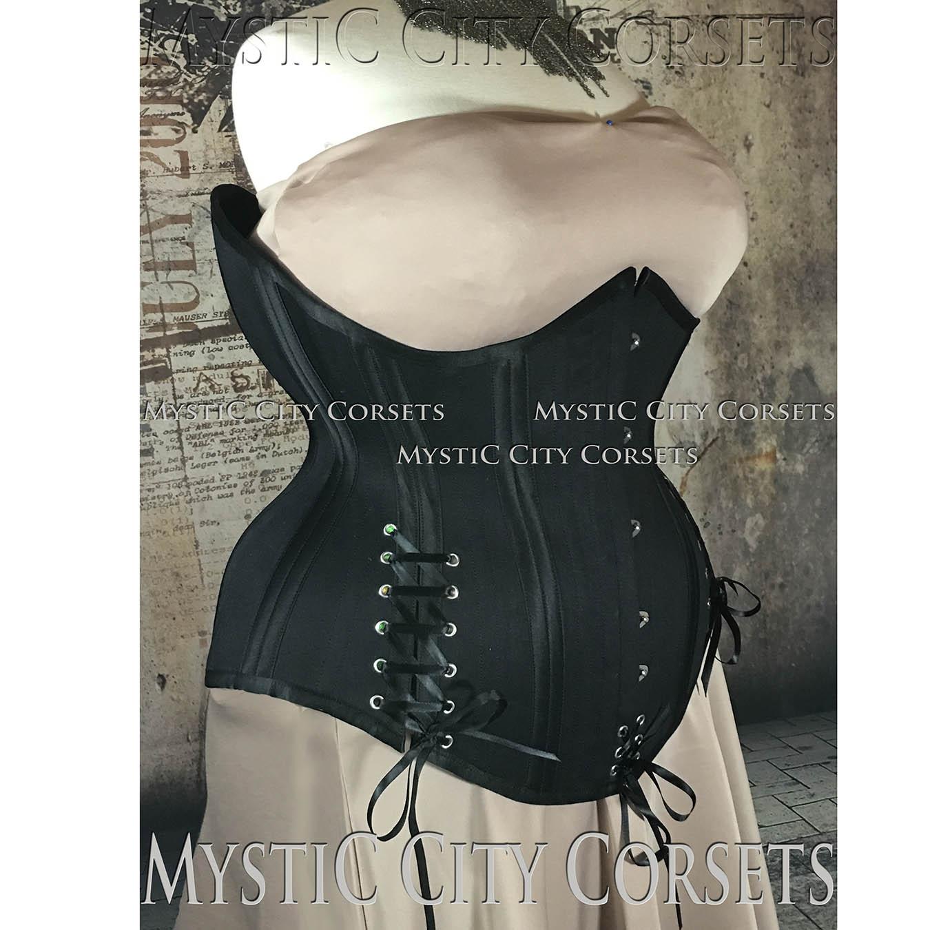 e2f373356 MCC81 Black Cotton Underbust corset Plus Size