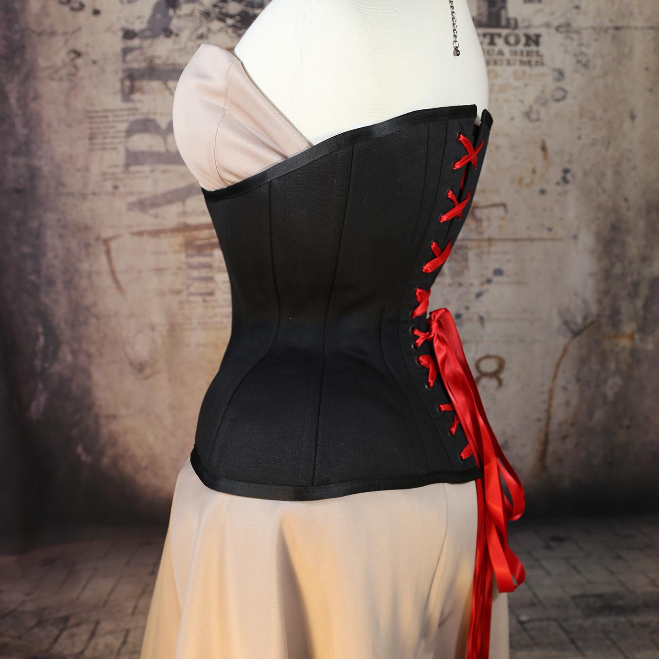 b1ba76b98b MCC112 Long Line Long Torso Black Cotton Underbust corset